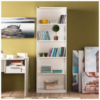 Adore Modern 5 Raflı Kitaplık Lake Beyaz Beyaz 64x182x26 Cm Mobilya