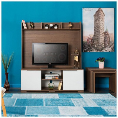 Adore Flat Line Vision Tv Ünitesi Noce-lake Beyaz 130x149x40 Cm TV Ünitesi