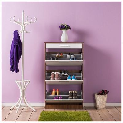 Adore Flat Düşer Kapaklı Çekmeceli Ayakkabılık - Ceviz/Beyaz