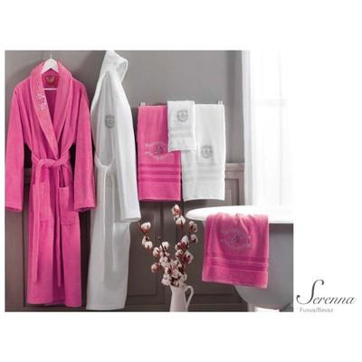 tac-tekstil-tac-serenna-aile-bornoz-seti-fusya-beyaz
