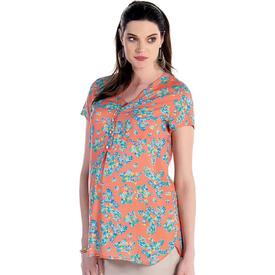 Ebru Çiçek Desenli Hamile Bluz Koral M Gömlek, Bluz, Tunik
