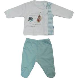 Baby Center S80459 Kemanlı Yandan Çıtçıtlı 2 Li Bebek Takım Mint 0 Ay (50-56 Cm) Erkek Bebek Takım