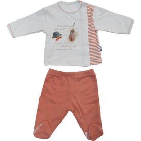 Baby Center S80459 Kemanlı Yandan Çıtçıtlı 2 Li Bebek Takım Kiremit 0 Ay (50-56 Cm) Erkek Bebek Takım