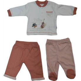 Baby Center S81197 Kemanlı 3 Lü Bebek Takım Kiremit 0 Ay (50-56 Cm) Erkek Bebek Takım