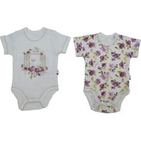 Baby Center S84174 Kız Bebek Cam Güzeli 2 Li Body Kısa Kol Lila 3-6 Ay (62-68 Cm) Kız Bebek Body