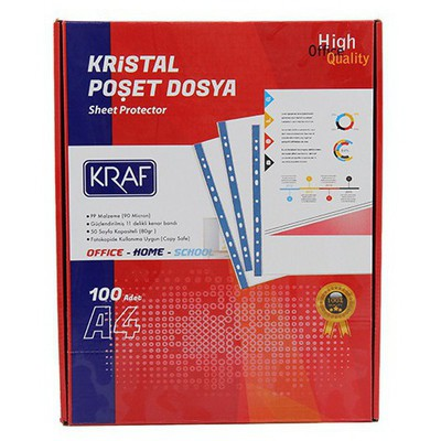 Kraf Poşet  Kristal A4 100'lü Paket Dosya