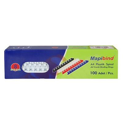 Mapibind Plastik Spiral 8 Mm 100 Adet Ciltleme Ürünü