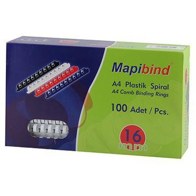 """Mapibind 100""""lü 16 Mm Plastik Spiral Ciltleme Ürünü"""