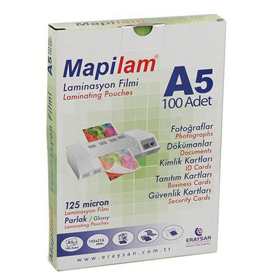 Mapilam Laminasyon Filmi 125 Micron A5 216 X 155 Mm 100'lü Paket Ciltleme Ürünü