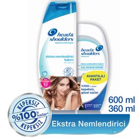 Head & Shoulders Ekstra Nemlendirici Bakım 2'li Paket Şampuan 600 ml + Saç Bakım Kremi 360 ml Saç Bakım Ürünü