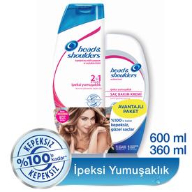 Head & Shoulders İpeksi Yumuşaklık 2'li Paket Şampuan 600 ml + Saç Bakım Kremi 360 ml Saç Bakım Ürünü