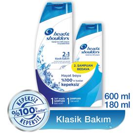 Head & Shoulders 2'si 1 Arada Şampuan Klasik Bakım 2'li Paket (600 ml + 180 ml) Saç Bakım Ürünü