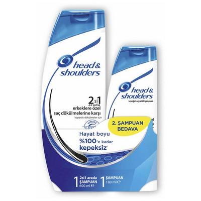 Head & Shoulders 2'si 1 arada Şampuan Erkeklere Özel Saç Dökümelerine Karşı 2'li Paket (600 ml + 180 ml) Saç Bakım Ürünü