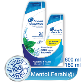 Head & Shoulders 2'si 1 Arada Şampuan Mentol Ferahlığı 2'li Paket (600 ml + 180 ml) Saç Bakım Ürünü