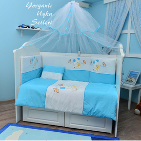Bambidoo B-2010 Yorganlı Uyku Seti Cute Dog Mavi 60x120 Bebek Uyku Seti