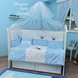 Bambidoo B-2041 Yorganlı Uyku Setleri Cute Rabbit Mavi 70x130 Bebek Uyku Seti
