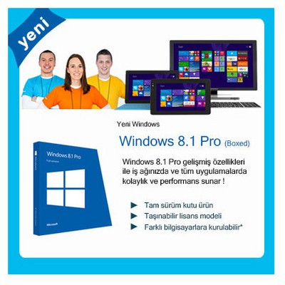 Microsoft Windows 8.1 Pro, English, 32/64 Bit, Kutu Dvd Fqc-06915 İşletim Sistemi