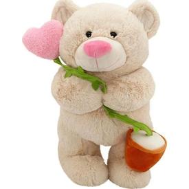 Neco Plush Kalp Çiçekli Peluş Ayı 55 Cm Peluş Oyuncaklar