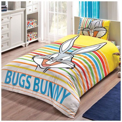 Taç Tekstil Taç Bugs Bunny Striped Nevresim Takımı