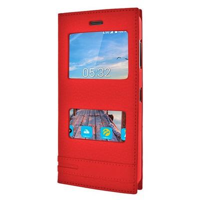 Microsonic Turkcell T70 Kılıf Gizli Mıknatıslı Dual View Delux Kırmızı Cep Telefonu Kılıfı