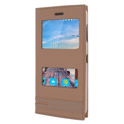 Microsonic Turkcell T70 Kılıf Gizli Mıknatıslı Dual View Delux Gold Cep Telefonu Kılıfı