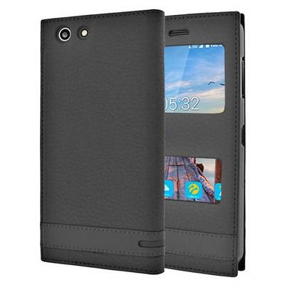 Microsonic Turkcell T70 Kılıf Gizli Mıknatıslı Dual View Delux Siyah Cep Telefonu Kılıfı