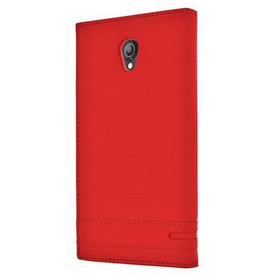 Microsonic Vodafone Smart Style 7 Kılıf Gizli Mıknatıslı Dual View Delux Kırmızı Cep Telefonu Kılıfı