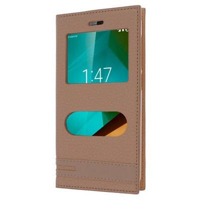 Microsonic Vodafone Smart Style 7 Kılıf Gizli Mıknatıslı Dual View Delux Gold Cep Telefonu Kılıfı