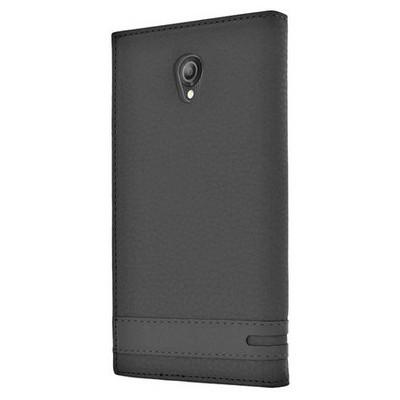 Microsonic Vodafone Smart Style 7 Kılıf Gizli Mıknatıslı Dual View Delux Siyah Cep Telefonu Kılıfı