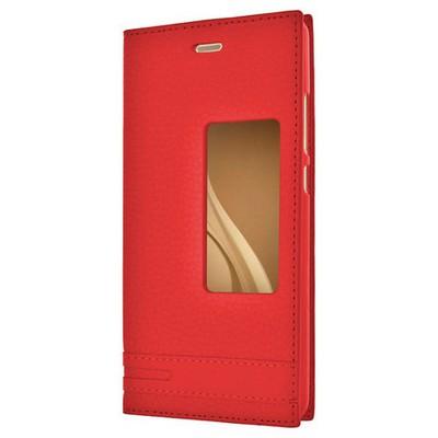 Microsonic Huawei P9 Kılıf Gizli Mıknatıslı View Delux Kırmızı Cep Telefonu Kılıfı