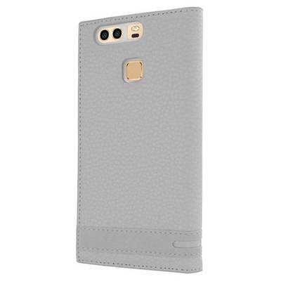 Microsonic Huawei P9 Kılıf Gizli Mıknatıslı View Delux Beyaz Cep Telefonu Kılıfı