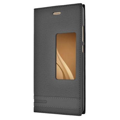 Microsonic Huawei P9 Kılıf Gizli Mıknatıslı View Delux Siyah Cep Telefonu Kılıfı