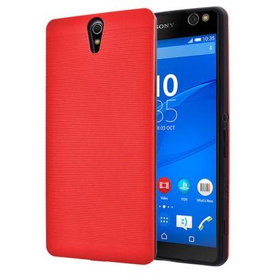 Microsonic Sony Xperia C5 Ultra Kılıf Linie Anti-shock Kırmızı Cep Telefonu Kılıfı