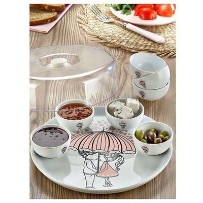 Keramika Set Hıtıt Kahvaltı 9 Parca Beyaz 004 Pınk Love Keramıra A Kahvaltı Takımı