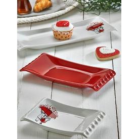 Keramika Set Kayık Selen 18-24-33 Cm 3 Parca Beyaz 004-kırmızı 506 Red Love Keramıra A Yemek Takımı