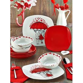 Keramika Takım Yemek Kosem 24 Parca Beyaz 004-kırmızı 506 Red Love Keramıra A Yemek Takımı
