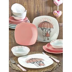 Keramika Takım Yemek Kosem 24 Parca Beyaz 004-pembe 550 Pınk Love Keramıra A Yemek Takımı