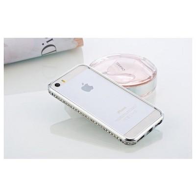 Microsonic Iphone Se Kılıf Taşlı Metal Bumper Gümüş Cep Telefonu Kılıfı