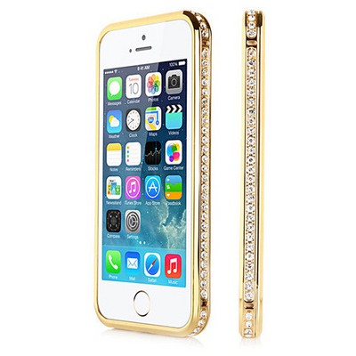 Microsonic Iphone Se Kılıf Taşlı Metal Bumper Gold Cep Telefonu Kılıfı
