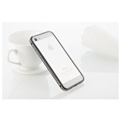 Microsonic Iphone Se Kılıf Taşlı Metal Bumper Siyah Cep Telefonu Kılıfı