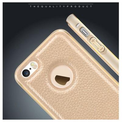 Microsonic Iphone Se Kılıf Derili Metal Delüx Beyaz Cep Telefonu Kılıfı
