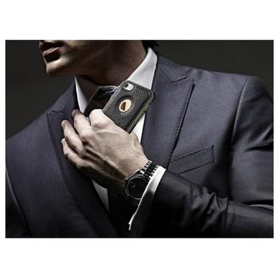 Microsonic Iphone Se Kılıf Derili Metal Delüx Siyah Cep Telefonu Kılıfı