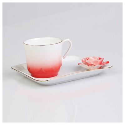 Arte Bianco Azra Kahve Fincanı Tabaklı Kırmızı Çay Seti