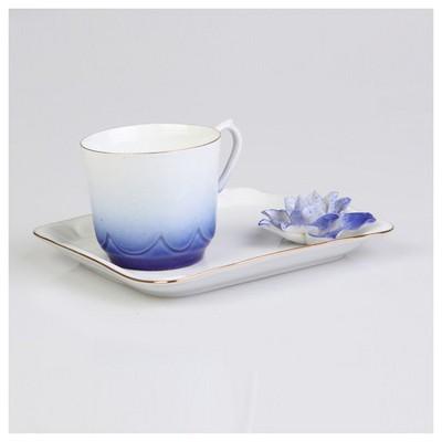 Arte Bianco Azra Kahve Fincanı Tabaklı Lacivert Çay Seti