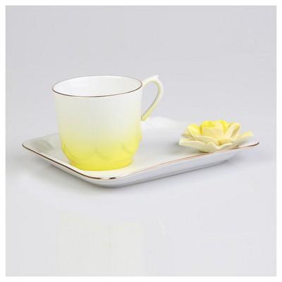 Arte Bianco Azra Kahve Fincanı Tabaklı Sarı Çay Seti