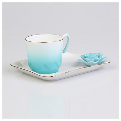 Arte Bianco Azra Kahve Fincanı Tabaklı Turkuaz Çay Seti