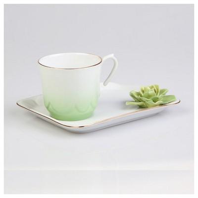 Arte Bianco Azra Kahve Fincanı Tabaklı Yeşil Çay Seti