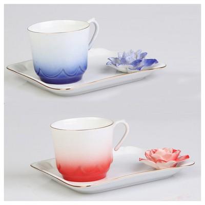 Arte Bianco Azra Kahve Fincan Takımı Kırmızı & Lacivert