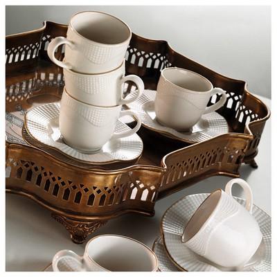 Mitterteich Milena Krem Altın File Kahve Fincan Takımı Çay Seti