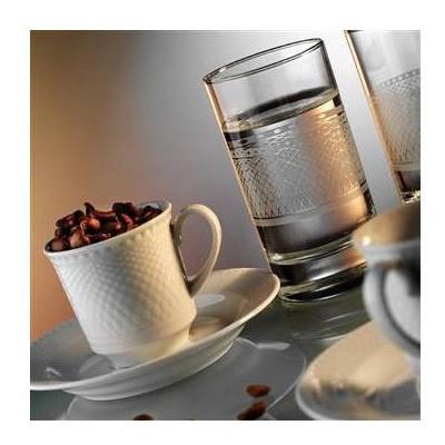 Kütahya Porselen Zümrüt 2 Kişilik Su Bardaklı Kahve Fincan Takımı Çay Seti